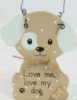 NEW IN BOX ' LOVE ME LOVE MY DOG' WOODEN SHABBY CHIC PLAQUE C.....